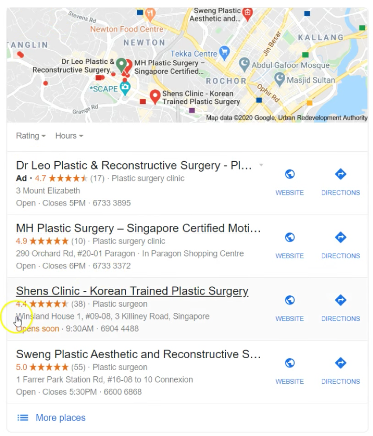 plastic surgery google my business listing